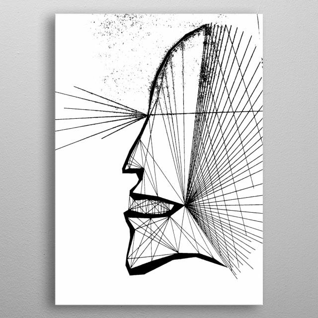 Hand drawn image of flashes of light creating the profile of a man. metal poster
