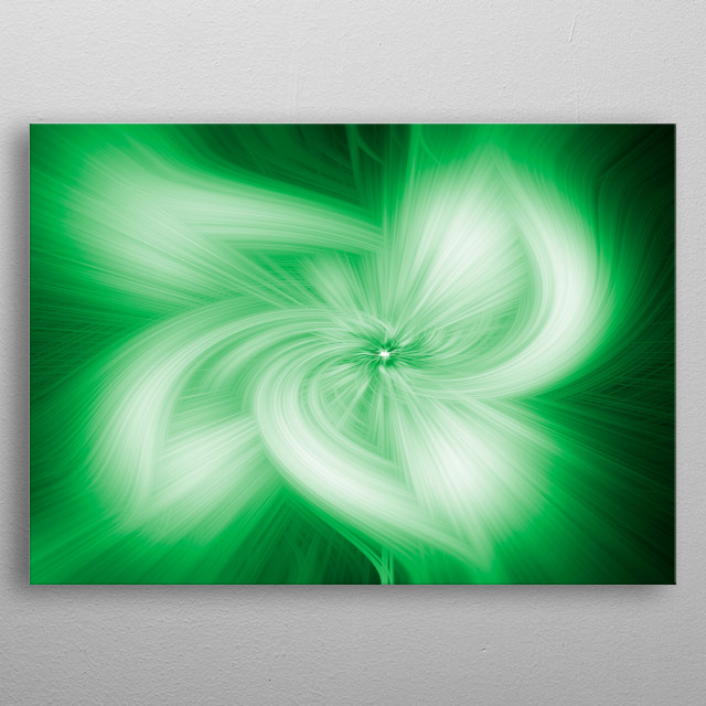 Abstract green splash in the space metal poster
