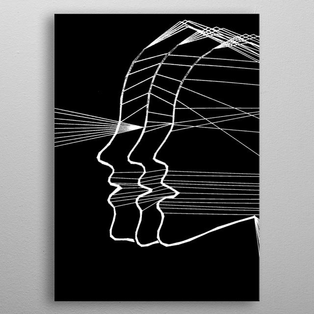 Inverted of the original hand drawn image of three female profiles projecting light. metal poster
