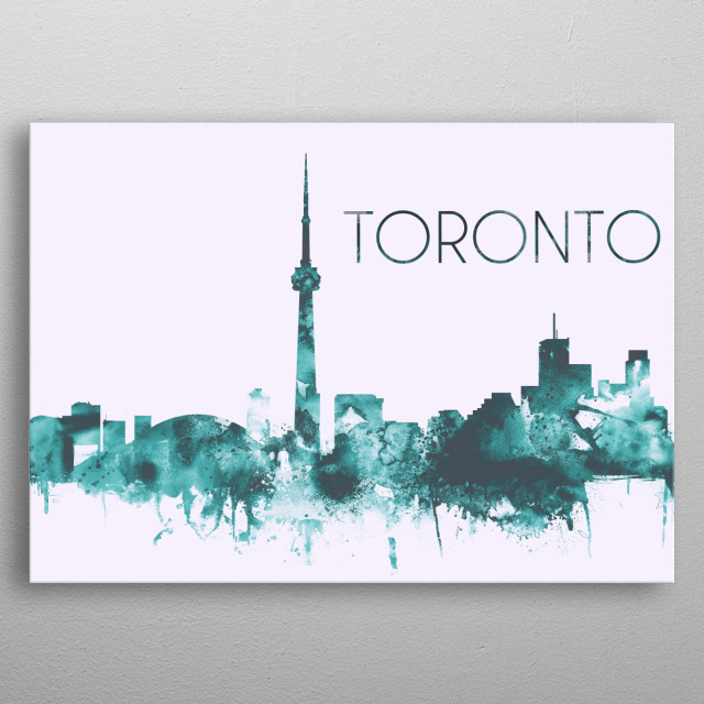 Watercolor skyline art print of Toronto, Canada. Decorate your space with this design & find daily inspiration in it.  metal poster