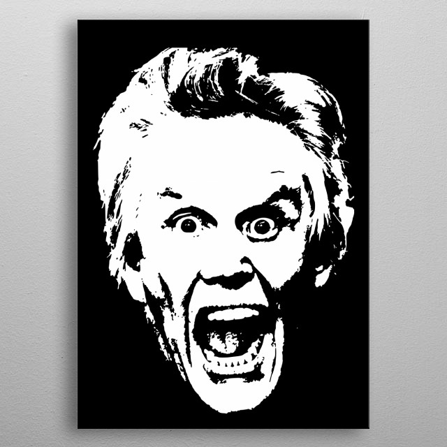 This is a minimalistic black & White pop art design of famous actor and comedian Gary Busey. metal poster