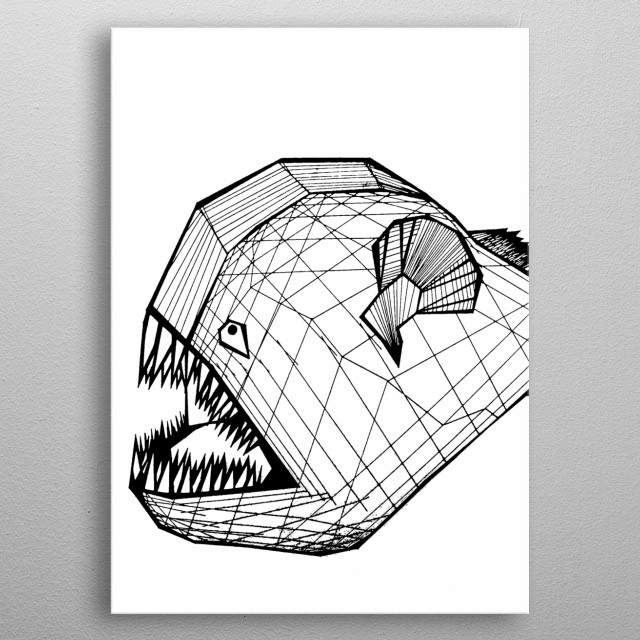 A Piranha hand drawn using only lines. metal poster