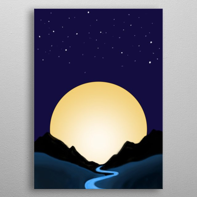 Minimalist illustration of mountains and the moon metal poster