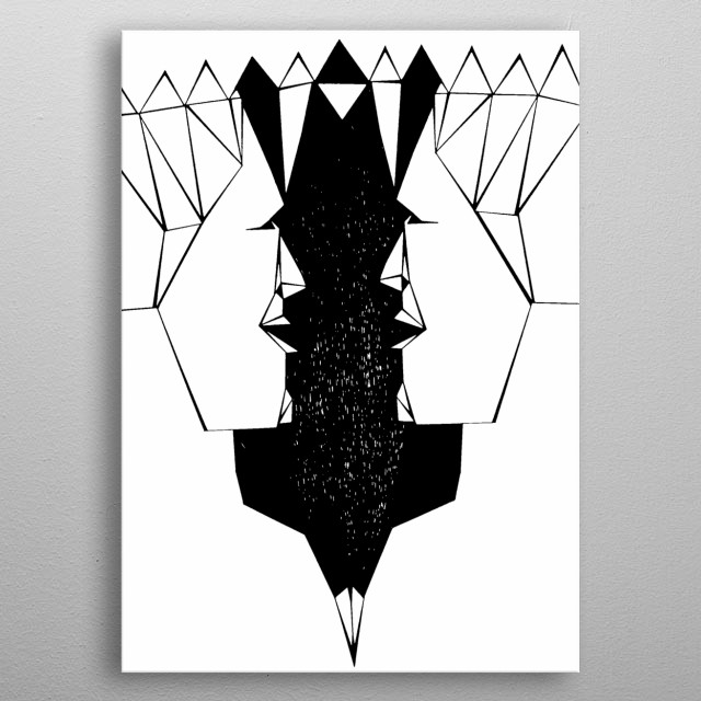 Two faces and the silhouette of a bird in the middle, like that vase image. metal poster