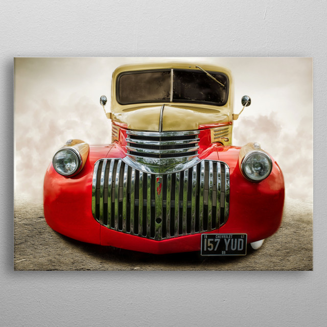 Front on shot and edit of a beautiful red and cream Chevvy truck. The grill looks stunning front on.  metal poster