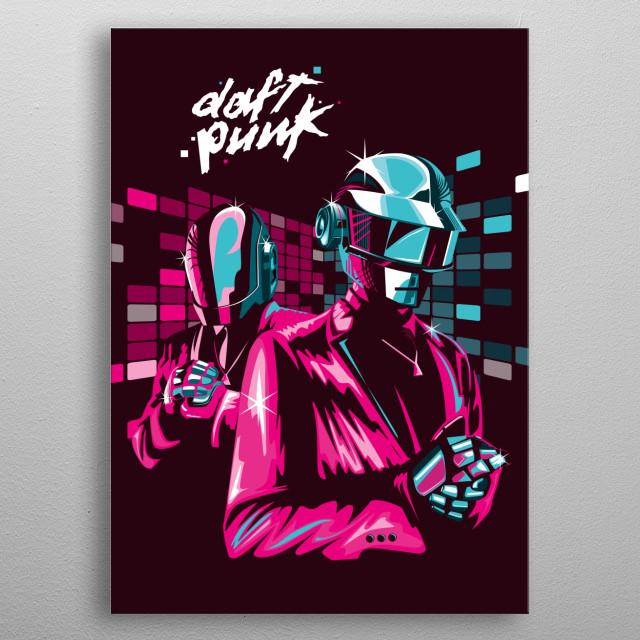 illustration of musician daft punk metal poster