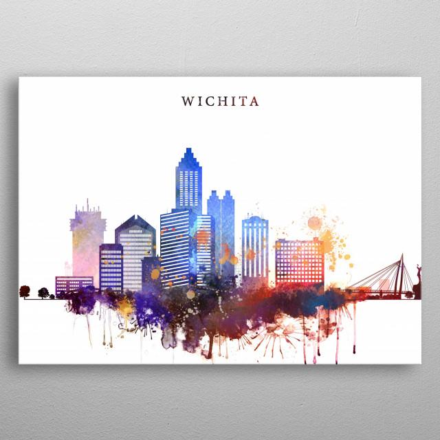 Watercolor skyline art print of Wichita, Kansas. metal poster