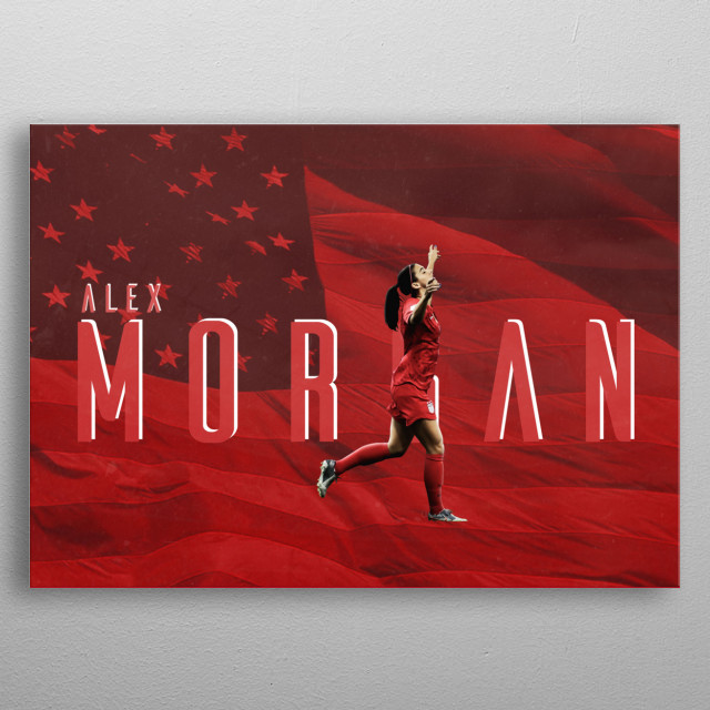 Its a  design of ALEX MORGAN celebrating .The background contains the US  is celebrating by pointing her hand towards the sky. metal poster