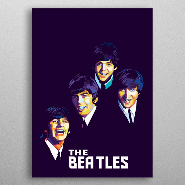 The beatles band in wpap popart illustration Style metal poster