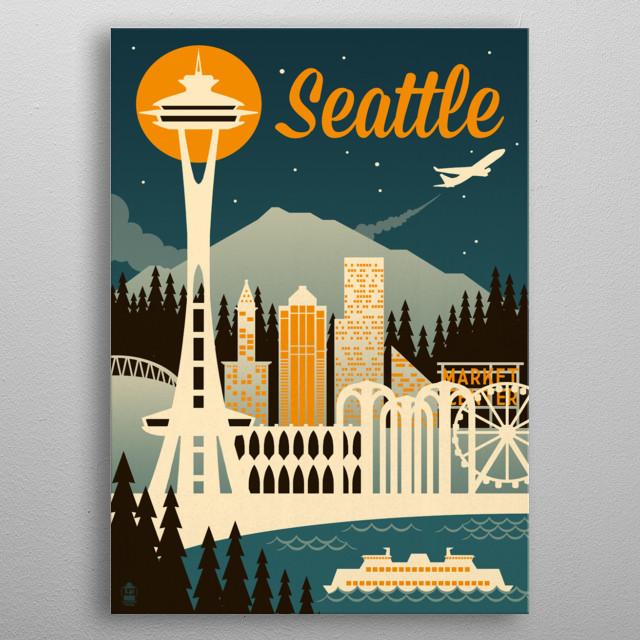 Seattle Vintage Travel Poster metal poster