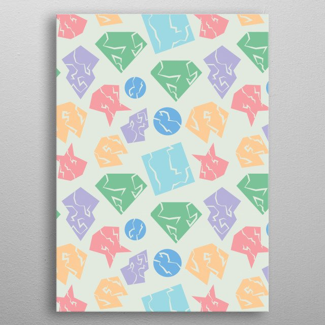 Broken and cracked shapes. An abstract minimalist pattern created in Adobe Illustrator. metal poster