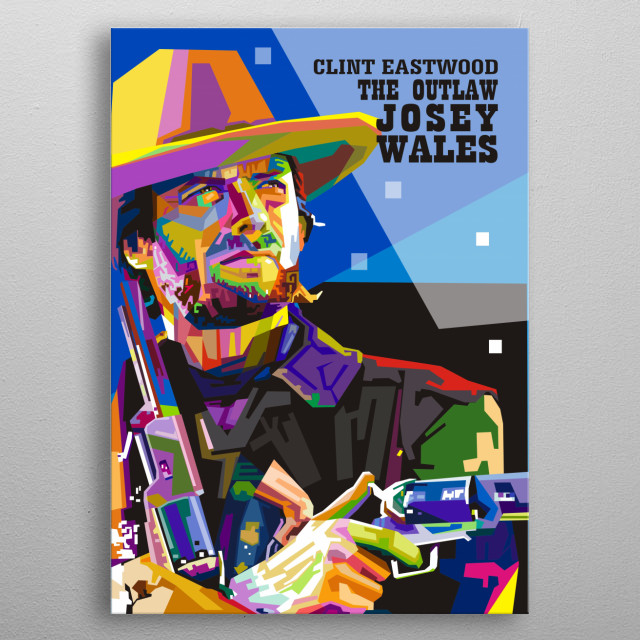 Clint Eastwood as a Cowboy with guns. metal poster