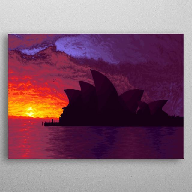 Sydney Opera House Pixel Art. metal poster