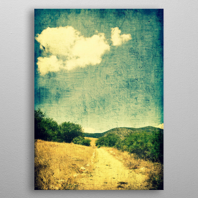 Grunge textured composition of a rural road with heart-shaped clouds in the sky. metal poster