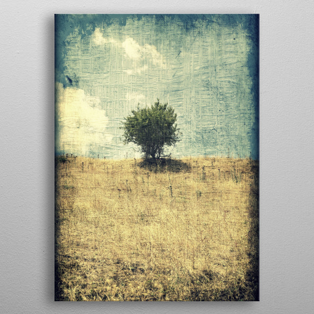 Grunge textured composition of a small tree in the center of a hill. metal poster