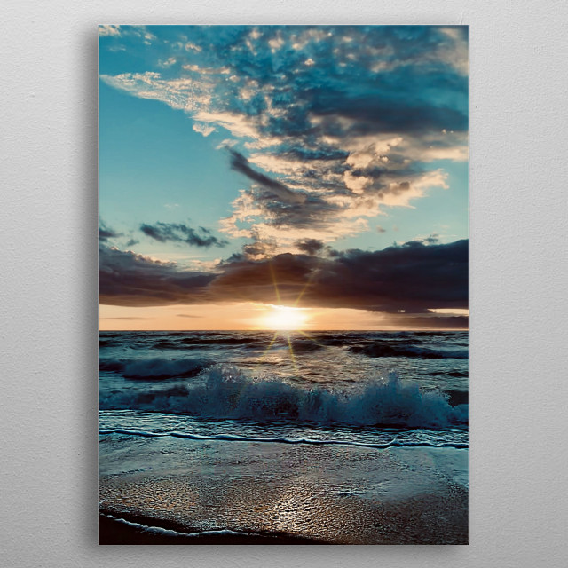 That morning we admired a surprising sunrise of different colours with a very special light, a fantastic cloudy sky, wind and waves.  metal poster