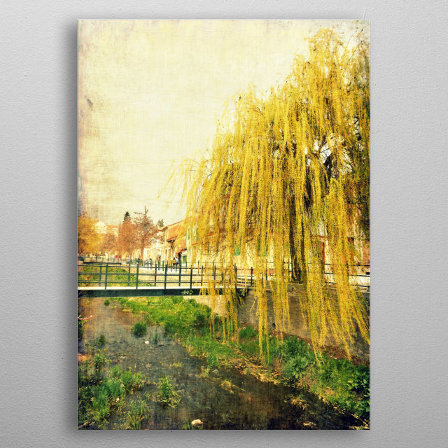 Grunge textured composition of a big beautiful willow on the shores of a river in a small town. metal poster