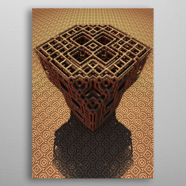 A minimalistic, clean 3-D rendering created with Mandelbulb 3D fractal software. metal poster