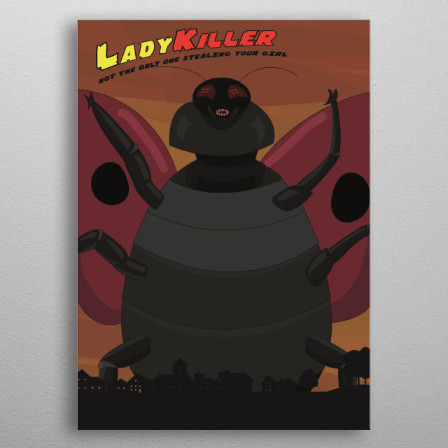 Illustration of a giant killer lady bug that is taking over the world. It eats women. Done in the old comic style metal poster