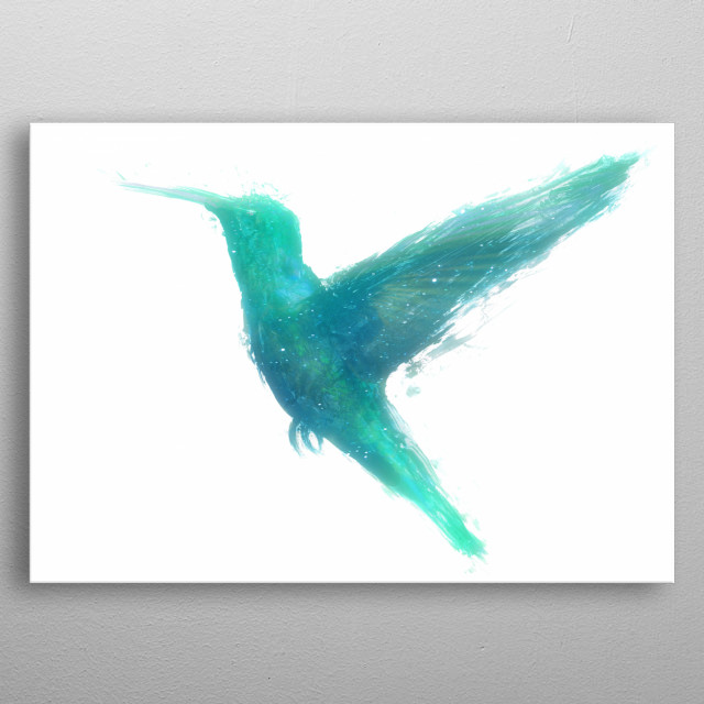 """You may think I'm small, but I have a universe inside my mind.""  ― Yoko Ono  A green-blue illustration of a humming-bird (Trochilidae). metal poster"