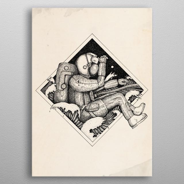 Illsutration d'un astronaute dans la mer metal poster