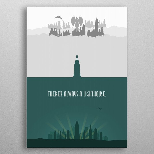 Minimalistic illustration of the cities Rapture and Columbia in the video game Bioshock and Bioshock Infinite.  There's always a lighthouse. metal poster