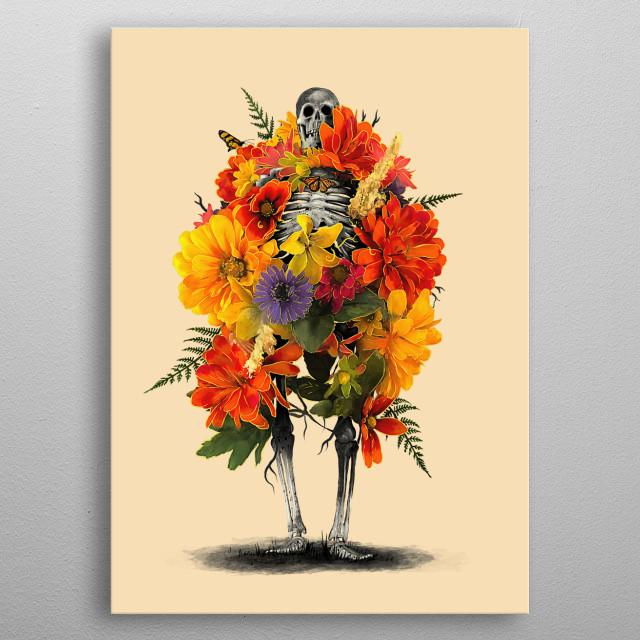 Death in floral dress. metal poster