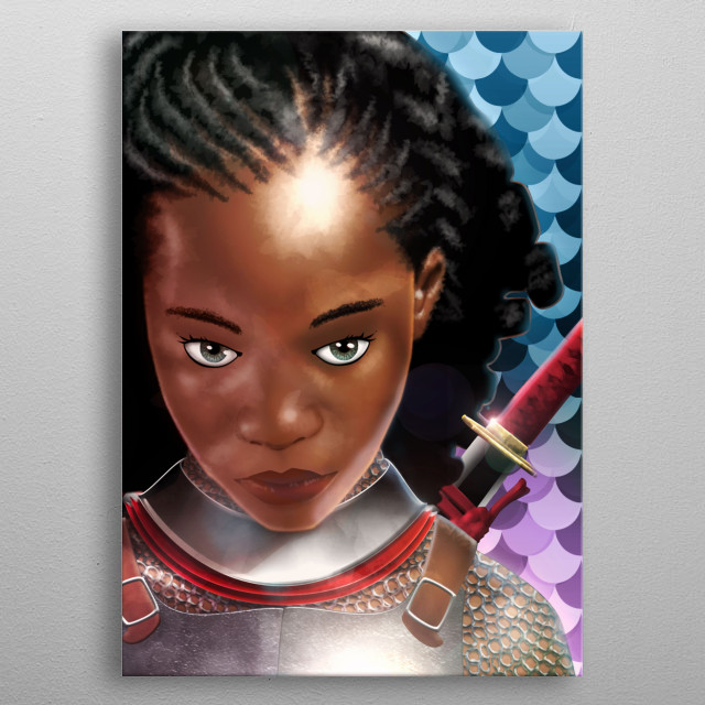 Portrait of an ebony warrioress attired in European armor and Japanese Katana. metal poster