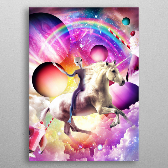 Pick up this crazy galaxy alien on a flying unicorn design. metal poster