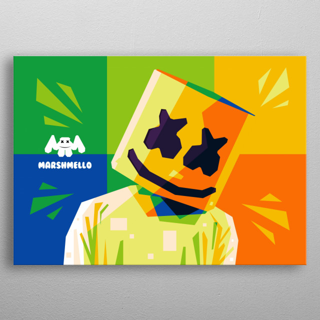 Popart illustration of an professional American DJ, Marshmello. metal poster