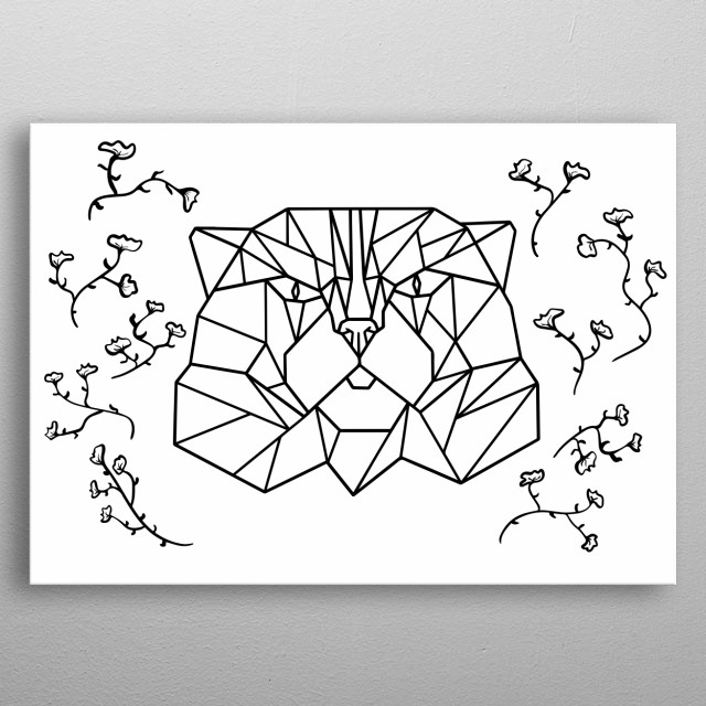 Geometric cat with abstract wild flowers. Line art, low poly, black and white, simple design. metal poster