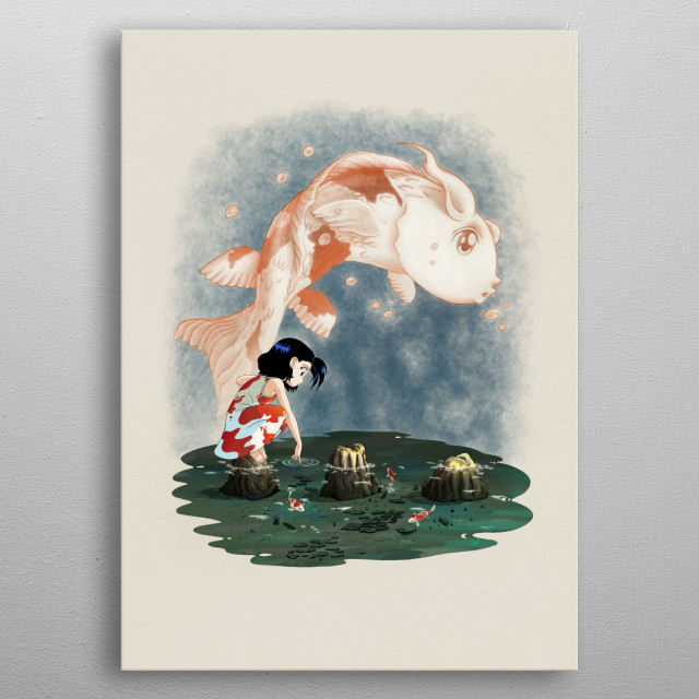 An illustration showing Karen Isuma, playing alone in a pond with some koi, imaging she is a koi too. metal poster