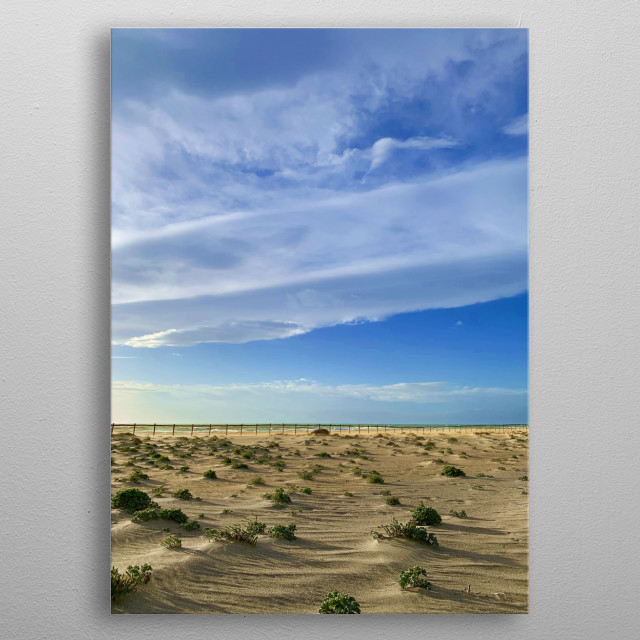 The sun rose more than an hour ago, the weather is fine, the wind is blowing, everything is quiet on this almost wild beach. metal poster