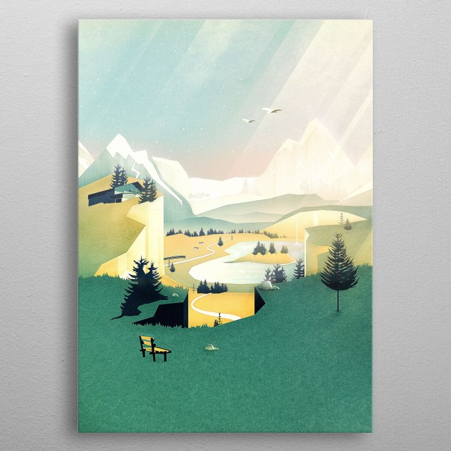 A vintage travel poster of Austria / Bavaria. Enjoy an emerald and magical view of the alps. A vector landscape for all hiking lovers.  metal poster