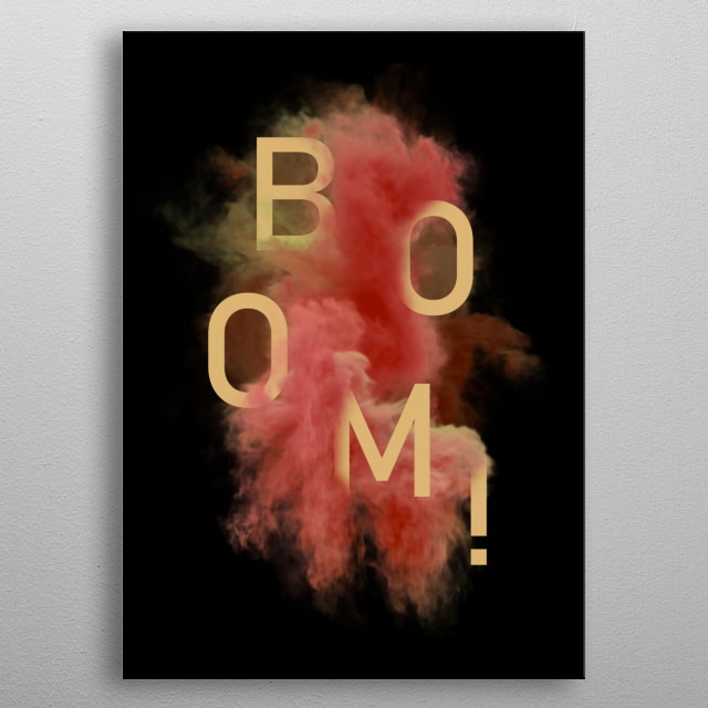 Smoke and typography with the word BOOM in red palette.  metal poster