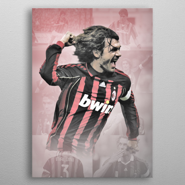 Paolo Maldini drawn design with background pics of his career in AC Milan.  metal poster
