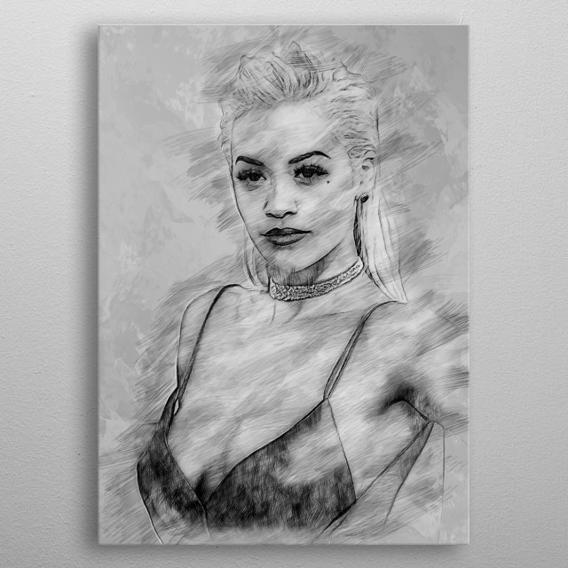 A pencil sketch of Rita Ora, inspired by this beautiful singer. metal poster