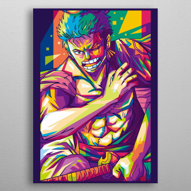 My favorite character in anime OnePiece, Roronoa Zoro Arc Wanokuni. metal poster