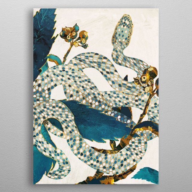 Abstract depiction of a serpent in a garden with indigo, teal, copper and gold metal poster