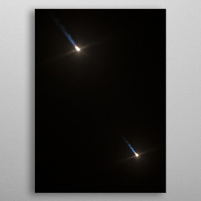 Side boosters coming down to earth after Spacex Falcon Heavy launch of 24 satellites. CC0 1.0 Image. metal poster