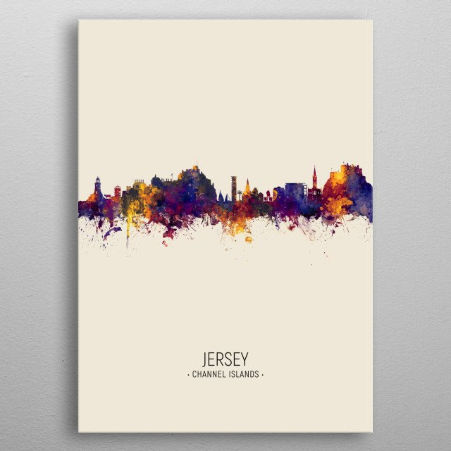 Watercolor art print of the skyline of Jersey, Channel Islands, United Kingdom metal poster