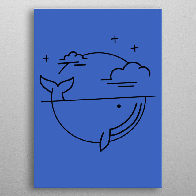 illustration is of whale with clouds and stars metal poster