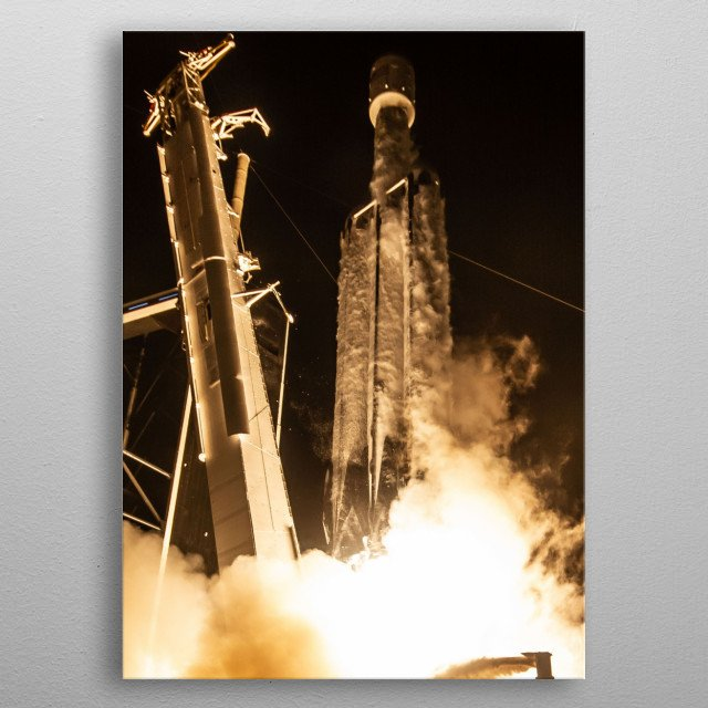 Spacex Falcon Heavy launch of 24 satellites. CC0 1.0 Image. metal poster