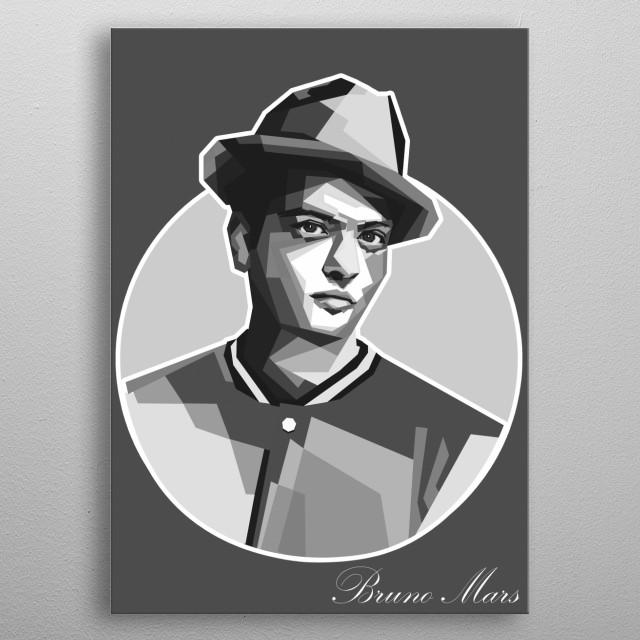Bruno Mars In WPAP Grayscale Art metal poster