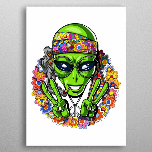Hippie Alien Peace UFO metal poster for alien lovers. metal poster