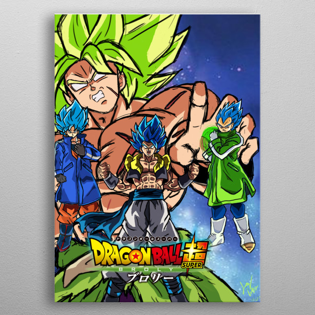 illustration of the Broly movie! metal poster