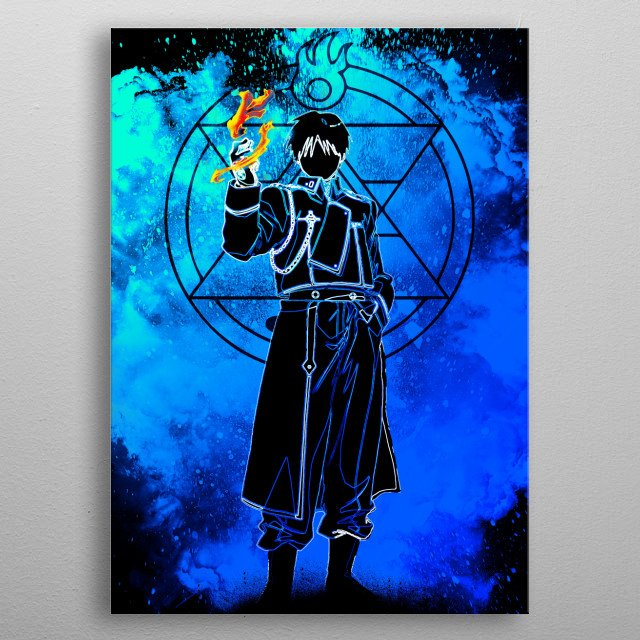 Black Silhouette of the flame alchemist metal poster