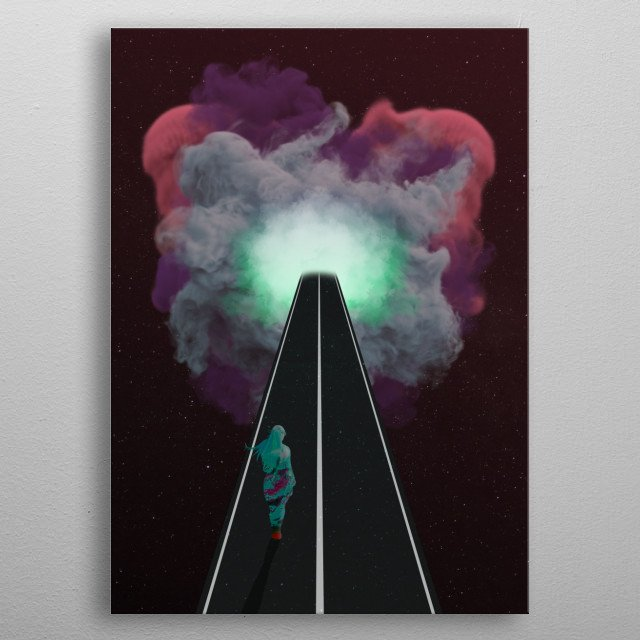 What's in the end of the road? What is waiting for you? This is where your imagination takes place. metal poster