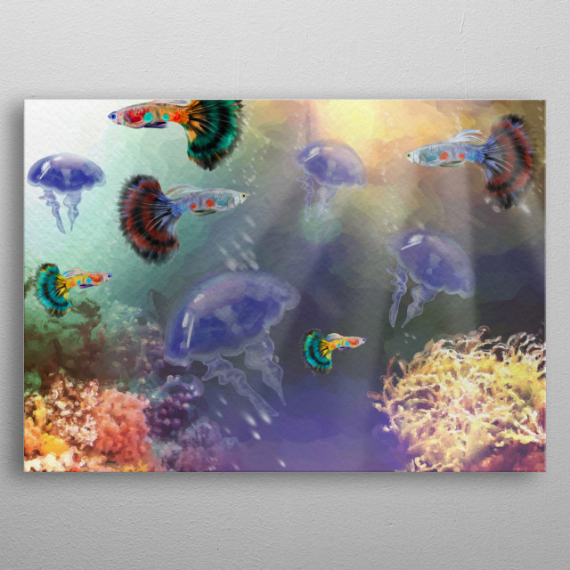 Illustration inspired in tropical Guppies fishes and the magic of the aquatic living beings. metal poster