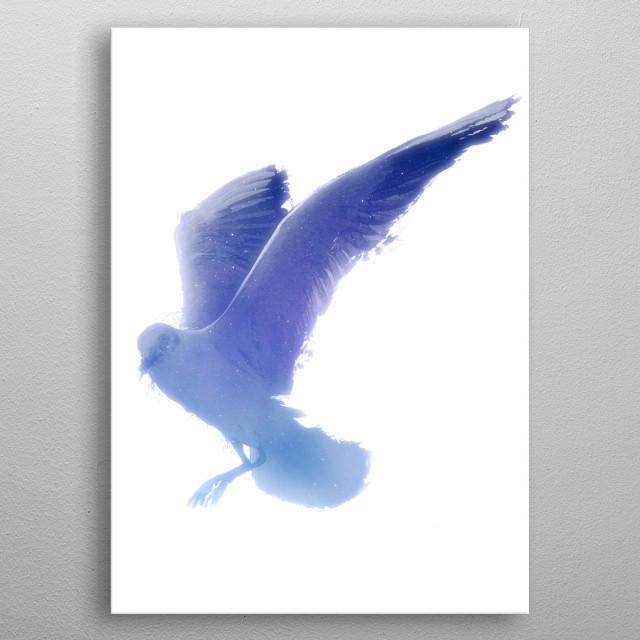 """""""The sea does not like to be restrained. """" ― Rick Riordan, The Lightning Thief  An Artwork of a blue seagull (Laridae) metal poster"""